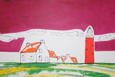 Roel walta schilderij vuurtoren met huizen