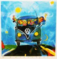 Ad verstijnen zeefdruk volkswagen bus