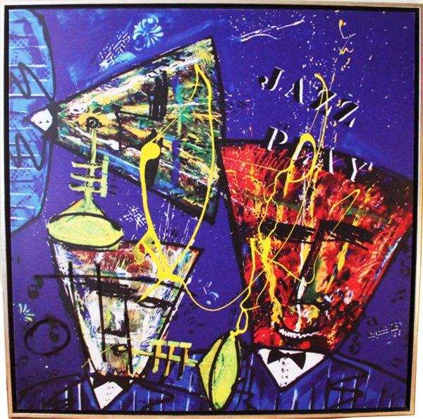 Groot schilderij doek jazz play