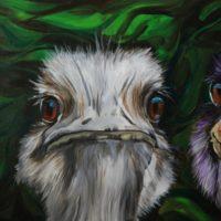 Mieke Hoppel struisvogel schilderij