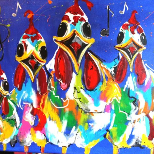Musical chicks schilderij MIR