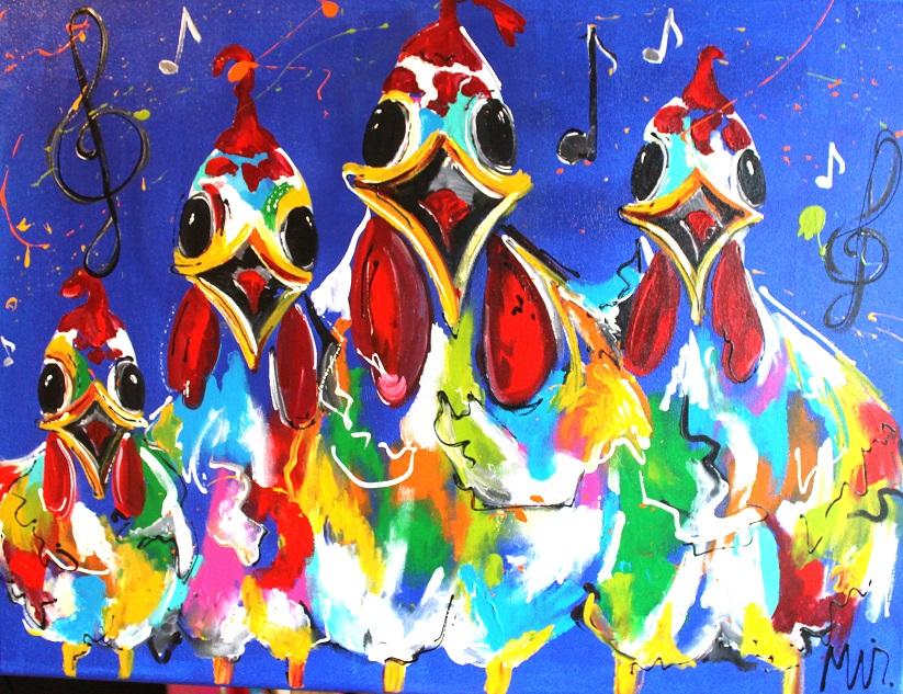 Musical chicks schilderij MIR