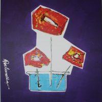 Roel Walta klaprozen in vaas 3d schilderij
