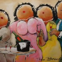 Theo Broeren lenteborrel schilderij dikke dames