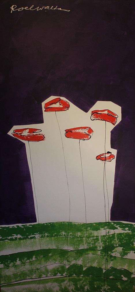 Roel walta groot verticaal doek schilderij