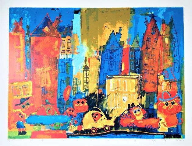 Ad Verstijnen - Zeefdruk - Big town bkue