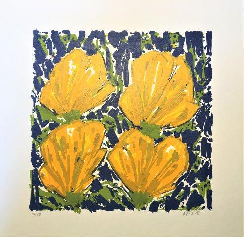 Ad van Hassel - Zeefdruk - Gele tulpen