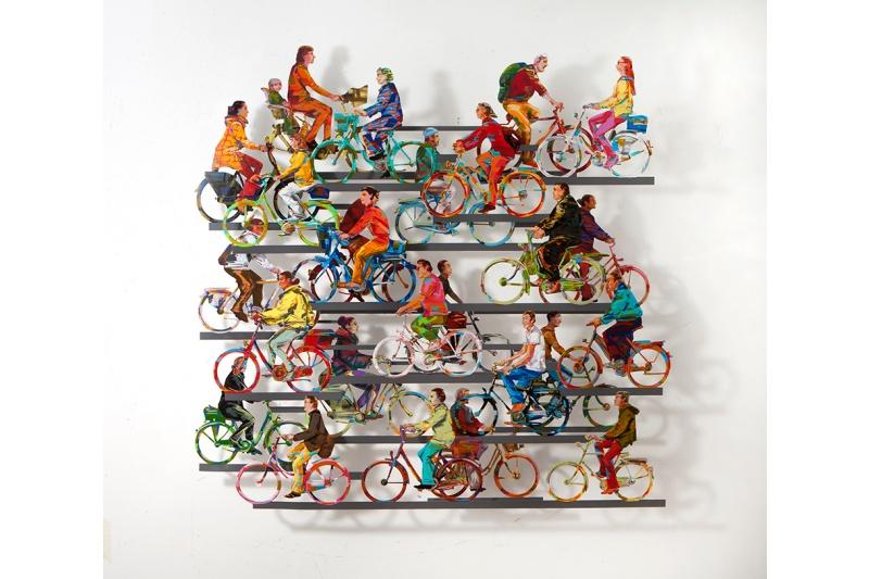 David Gerstein - Wall Sculpture - City on wheels