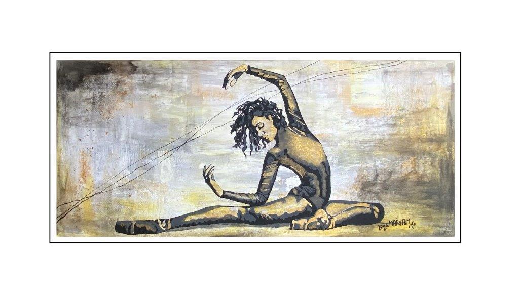 Maryam Bashari Rad - Schilderij - Dance in black and gold