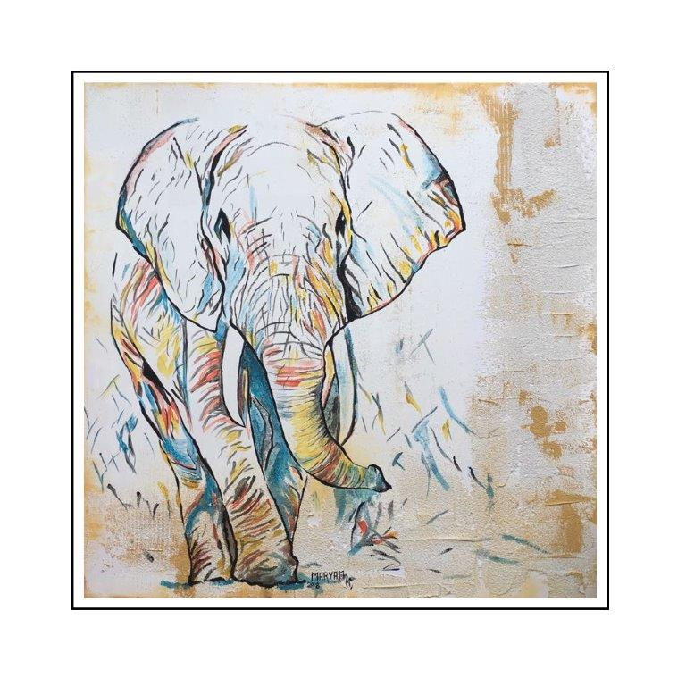 Maryam Bashari Rad - Schilderij - Elephants are beautiful #1