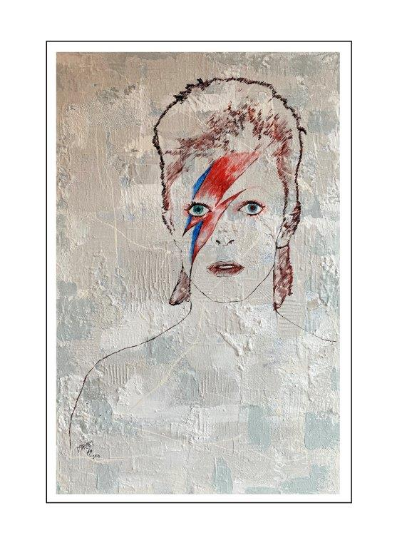 Maryam Bashari Rad - Schilderij - First day with David Bowie
