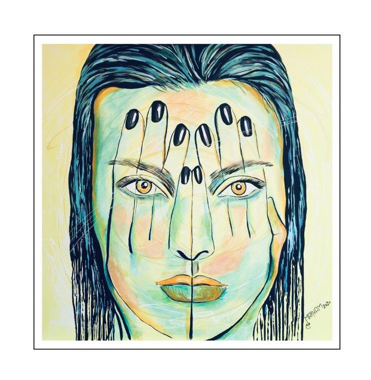 Maryam Bashari Rad - Schilderij - Hiding behind my hands #4