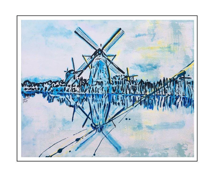 Maryam Bashari Rad - Schilderij - Kinderdijk's windmills dream #1