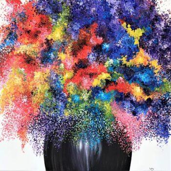 Betty Besselsen - Schilderij - Bont bloemenfeest