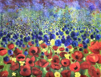 Betty Besselsen - Schilderij - Klaprozen korenbloemenveld