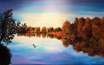 Betty Besselsen - Schilderij - Rust aan het meer