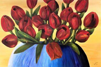 Betty Besselsen - Schilderij - Tulpenboeket
