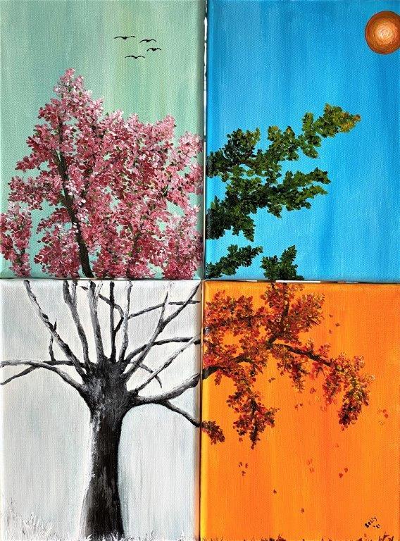 Betty Besselsen - Schilderij - Vierjaargetijdenboom