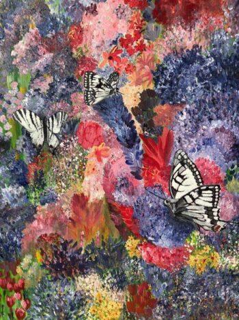 Betty Besselsen - Schilderij - Vlindertuin