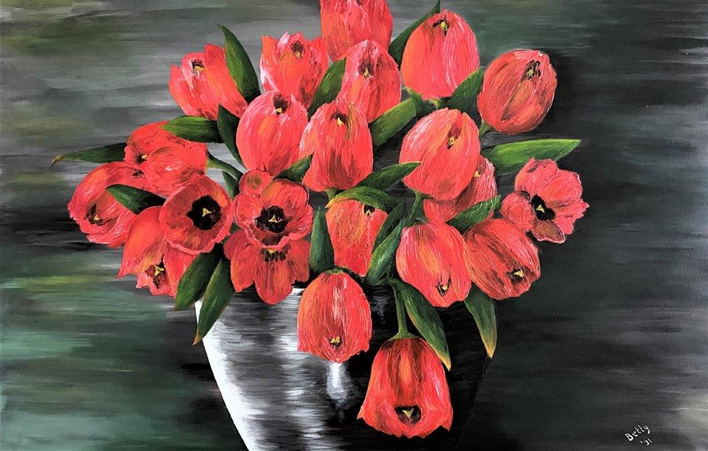 Betty Besselsen - Schilderij - Zeg het met rode tulpen