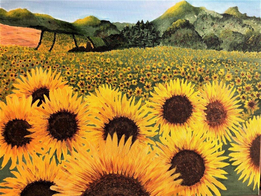 Betty Besselsen - Schilderij - Zonnenbloemenveld