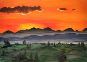 Betty Besselsen - Schilderij - Zonsondergang in de bergen